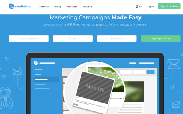 SendinBlue page - Free Email Marketing and Automation Websites