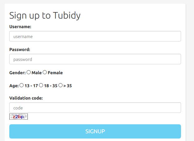 tubidy registration form