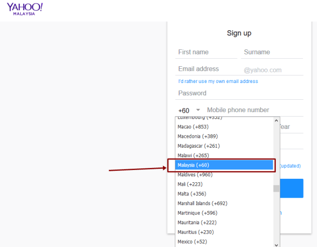 Image: Yahoo Sign Up Malaysia Registration Form