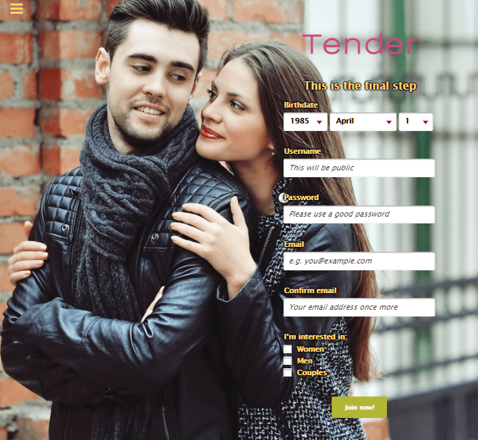 Tender Free Online Dating page