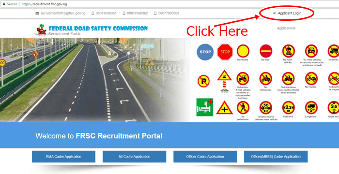 FRSC Recruitment Login Portal