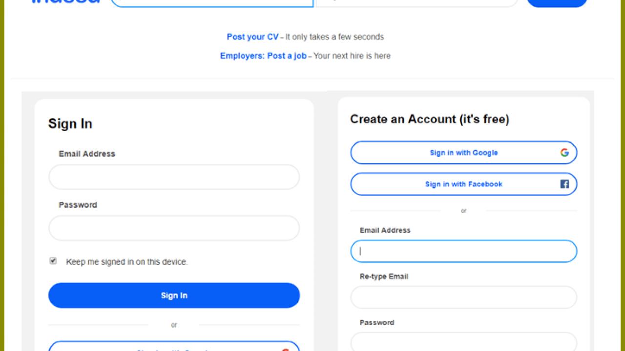 Indeed Vacancies Login Page | Create New Indeed com Account for Job