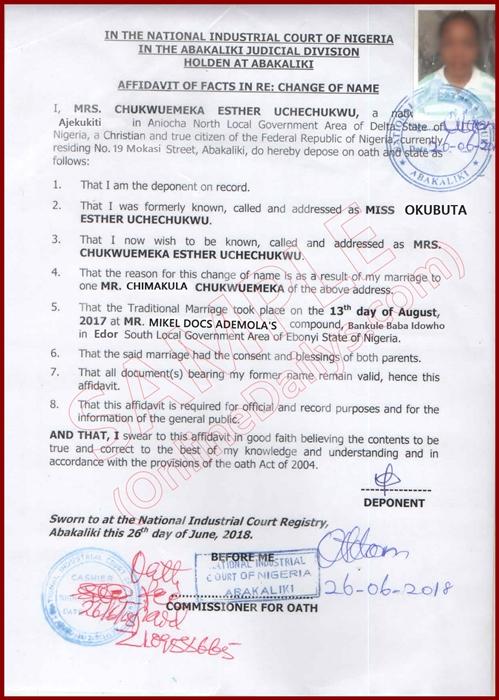 Affidavit of Change of Name 1