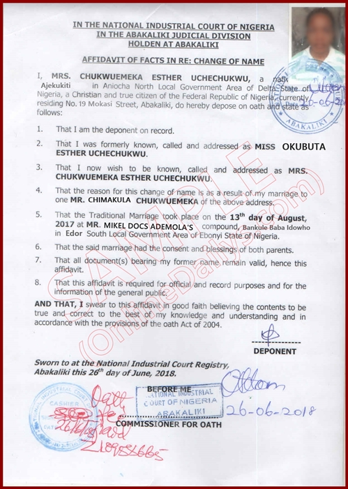 Affidavit of Change of Name 1