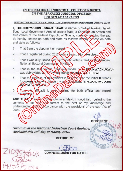 Affidavit of Correction of Name in ID Card
