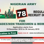 2019 Nigerian Army Recruitment Form for Graduates & Non-Graduates is Out