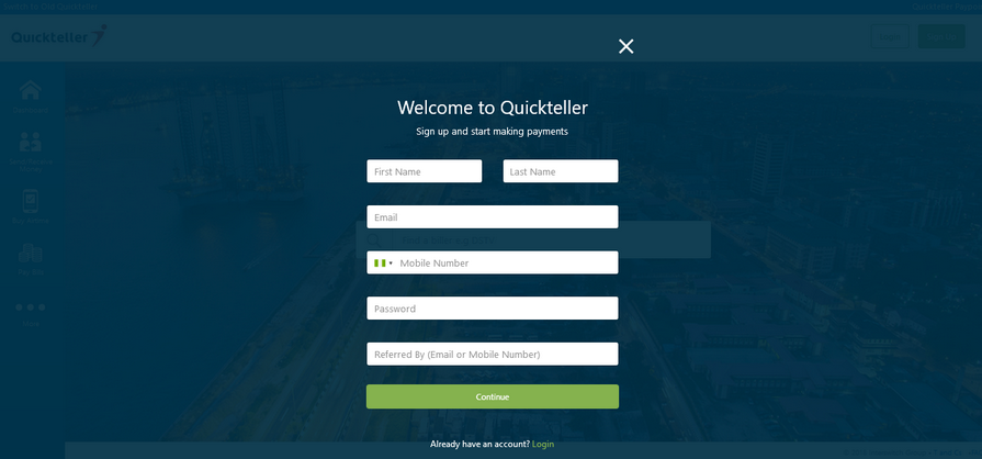QuickTeller registration form