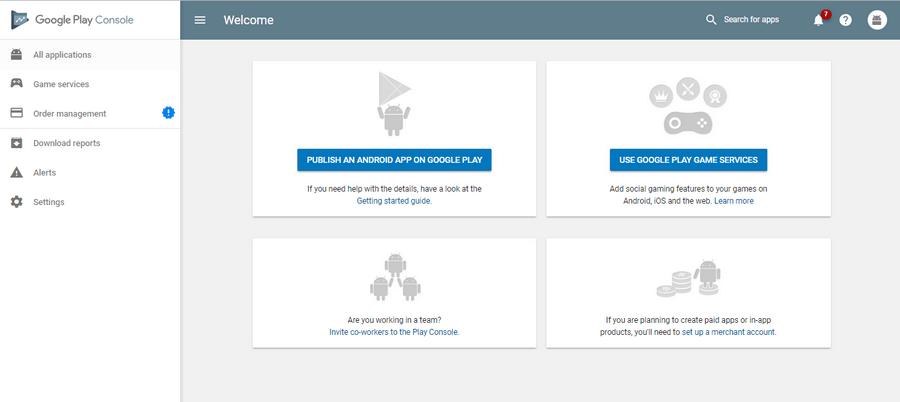 Image of Google Play Developer Account Dashboard