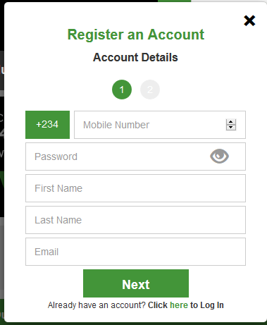 image of Betway registration form 1