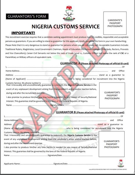 Nigeria Custom service Guarantor form sample