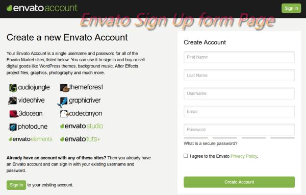 Envato Account Registration Form