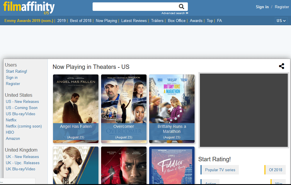 Film Affinity home page Image