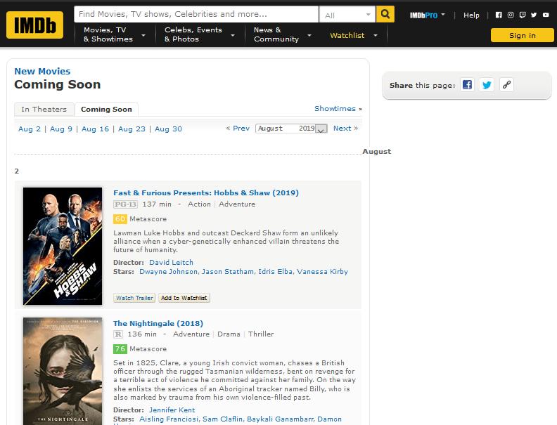 IMDb coming soon image