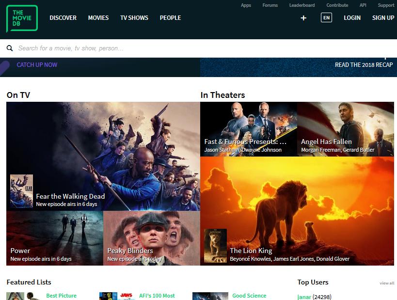 TheMoviesDB home page image