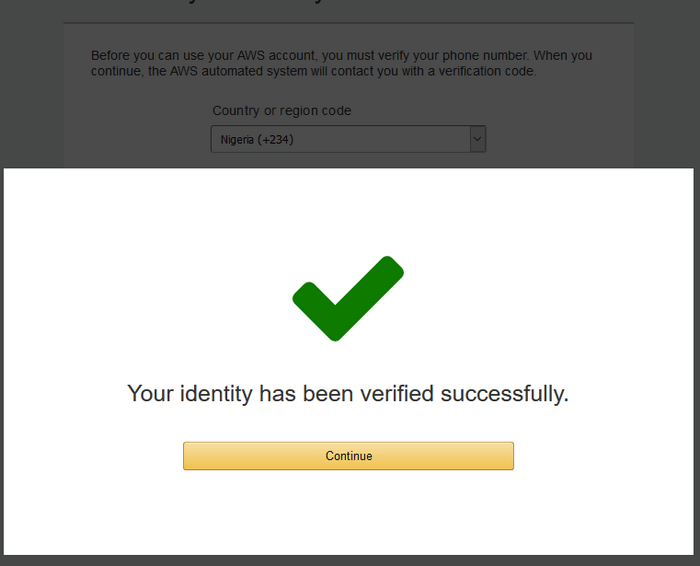 image showing AWS Amazon cloud registration completed
