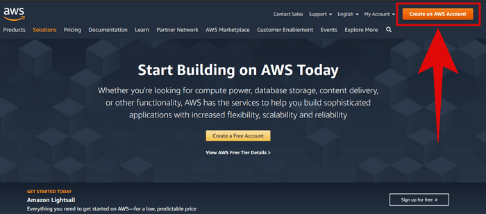 Amazon AWS cloud hosting Page image