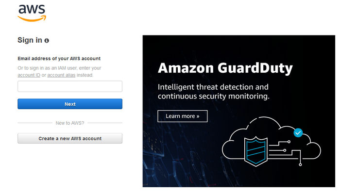 Amazon AWS cloud login image