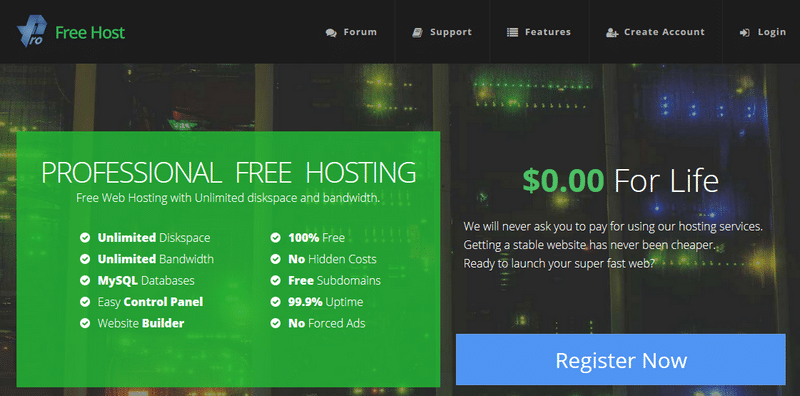 ProFreeHost free web hosting banner