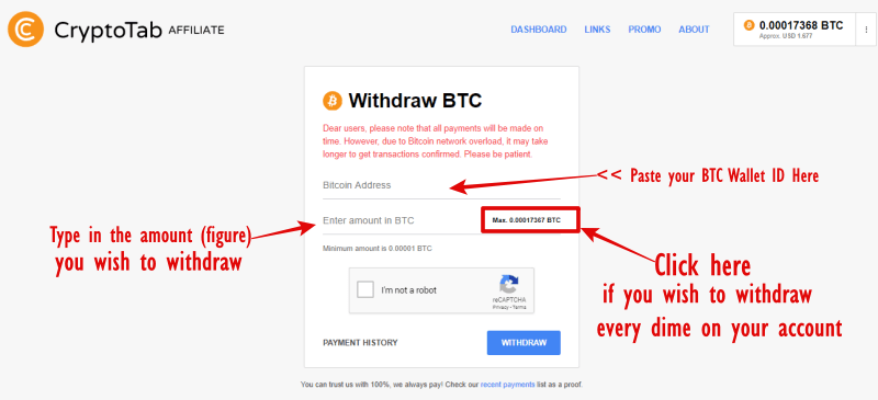 cryptoTab withdraw button 3