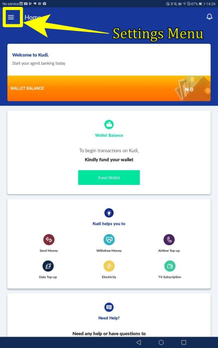 Kudi App Settings menu