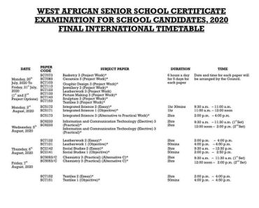 New WAEC timetable for 2020 exam 1