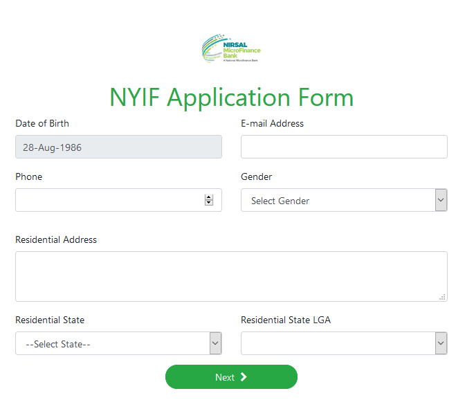 NYIF Application personal detail form