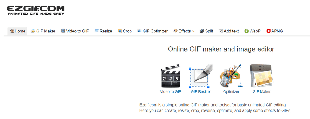 Ezgif gifs maker tool page