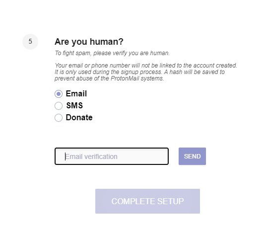 protonmail verification options image