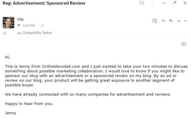 How to get Sponsored Reviews - email to PR