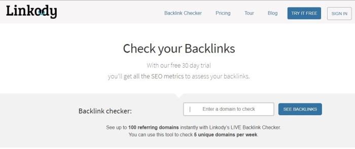 Linkody- free backlinks checker tools