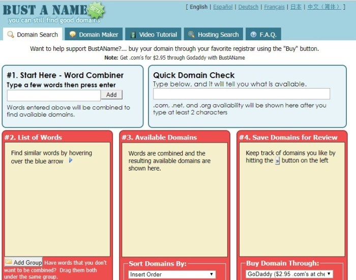 Bustaname - Top Best domain name generators