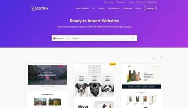 Astra for eCommerce sites - Ready to Use Templates