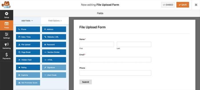 Default file upload form