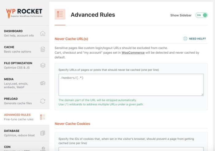 WP Rocket Review - Advanced Caching Rules
