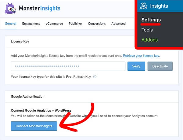 activate MonsterInsights account