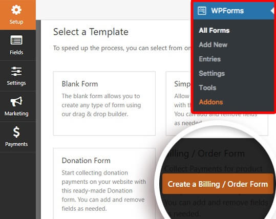 create billing form