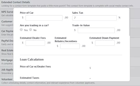 preview car loan calculator form