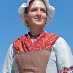 An authentic costume worn at a re-enactment of a battle of the French and Indian War. Canadian women dressed like this at the time of the war.