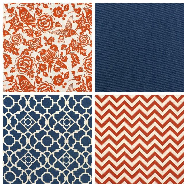 What Color Compliments Burnt Orange: Blue Fabric Print Mixing (Part 2)