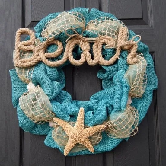 gorgeous-summer-burlap-wreath-seashell-rope-easy-DIY-wreath-ideas