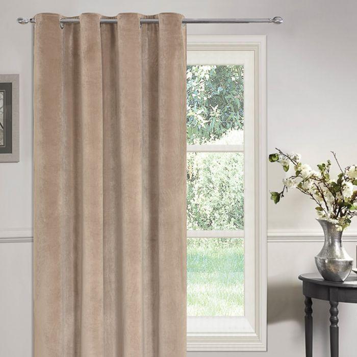 https www onlinehomeshop com dreamscene plush matt velvet fully lined eyelet single door curtain panel mink 54 x 86