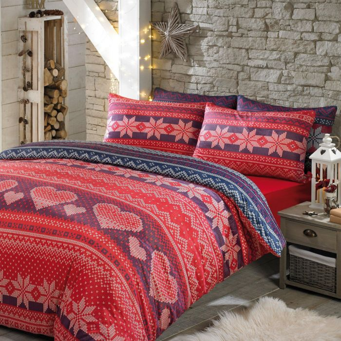 nordic duvet cover bedding set soft touch print red navy king