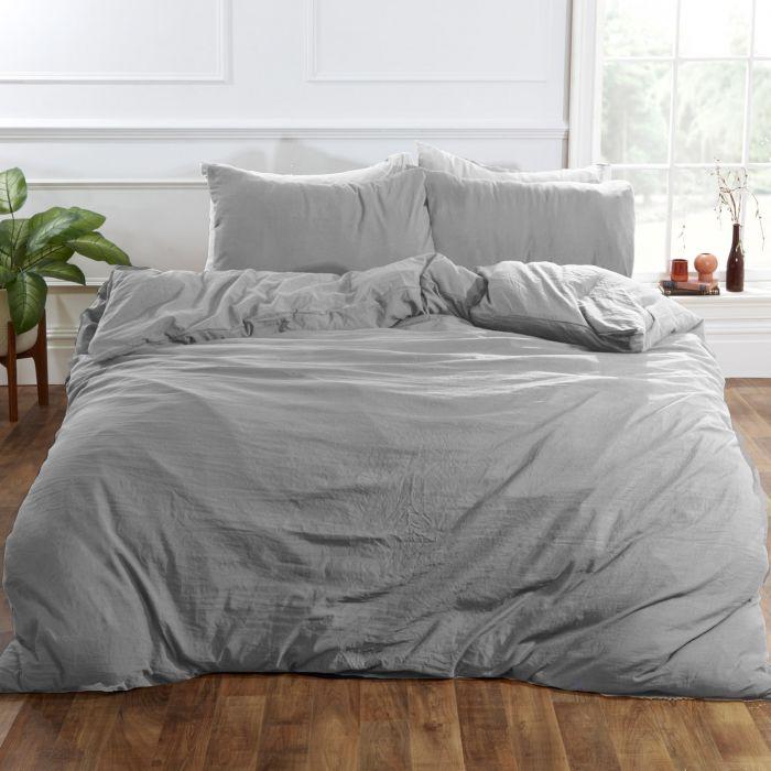 brentfords washed linen duvet cover set silver grey