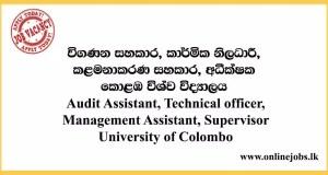 Audit Assistant, Technical officer, Management Assistant, Supervisor University of Colombo