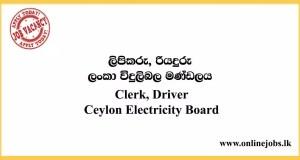 Clerk, Driver - Ceylon Electricity Board 2020