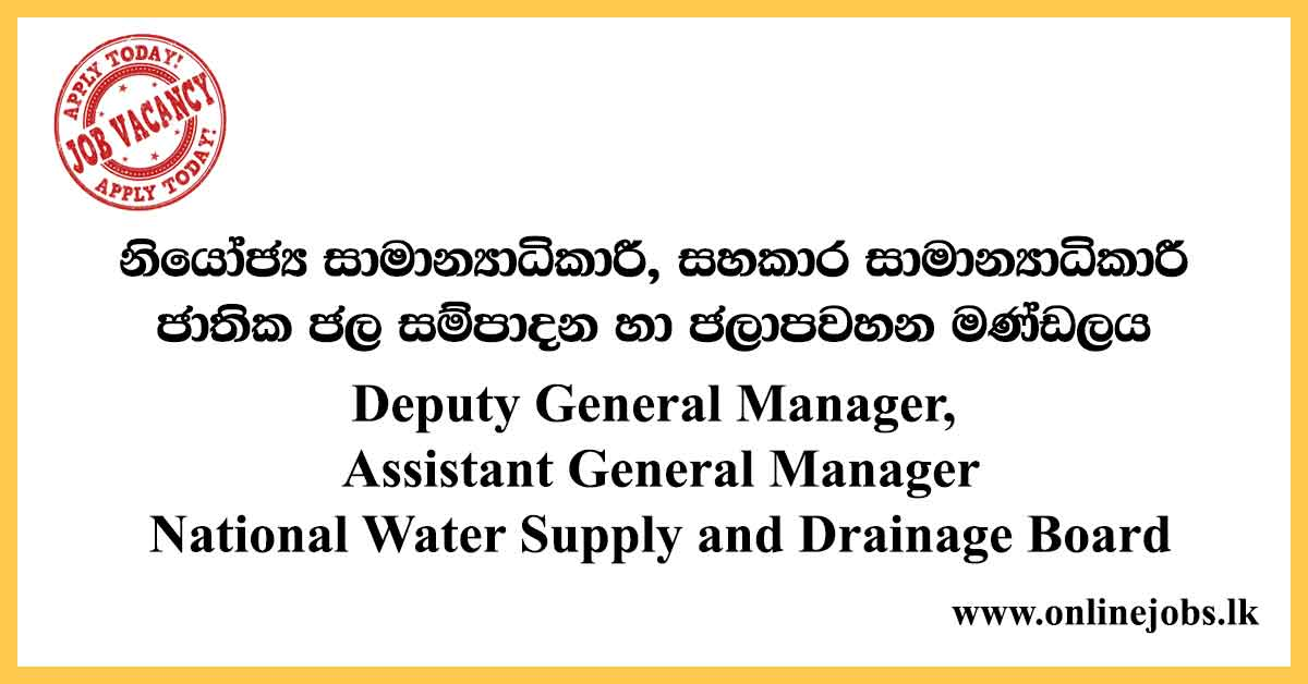 Deputy General Manager - National Water Supply and Drainage Board Vacancies 2020