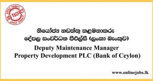 Deputy Maintenance Manager - Property Development PLC (Bank of Ceylon)