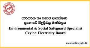 Environmental & Social Safeguard Specialist - Ceylon Electricity Board Vacancies 2020