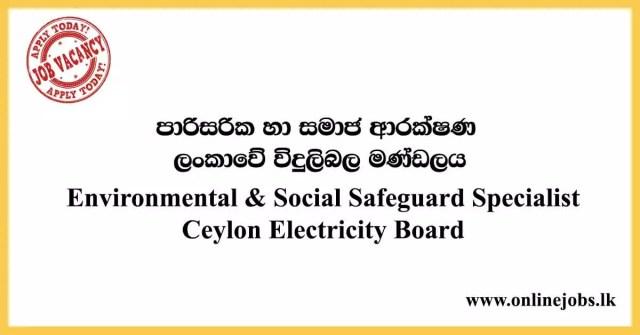 Environmental & Social Safeguard Specialist - Ceylon Electricity Board Vacancies 2020