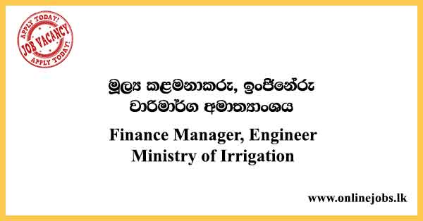 Finance Manager, Engineer - Ministry of Irrigation Vacancies 2021